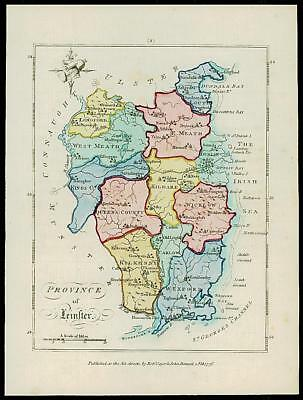 1776 IRELAND - Engraved Antique Map of PROVINCE OF LEINSTER with original colour