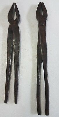 Antique Blacksmith? Industrial Tong Sandasi Clipper Handmade Forge Iron heavy 2x