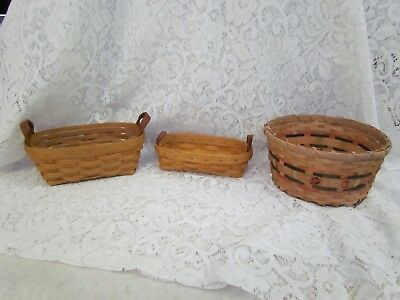 Lot of 2 Longaberger Baskets and One Unknown Basket with Pumpkins
