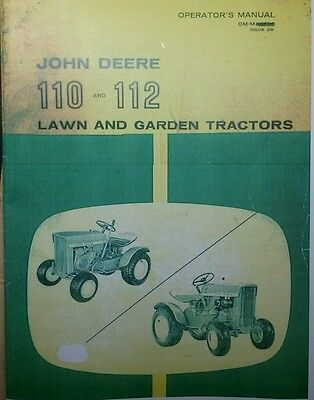 John Deere 110 112 Round Fender Garden Tractor &42 Blade Owner & Parts (3 Manual