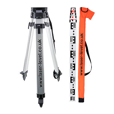 Tripod and Staff Kit for Rotary or Dumpy Levels includes 1.5m Tripod & 4m Staff