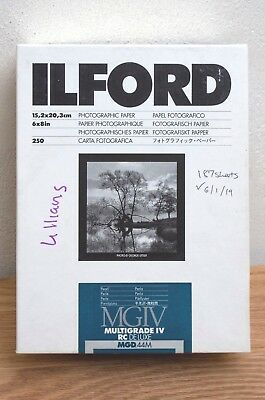 """Ilford MGIV RC DE LUXE Pearl- 6x8"""" 187 Sheets"""
