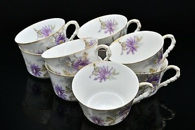 LOT DE 9 TASSES - AUTHENTIQUE PORCELAINE DE LIMOGES - FIN XIXème