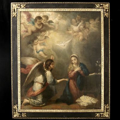 """ANTIQUE BAROQUE OIL PAINTING ON CANVAS WITH FRAME """"THE ANNUNCIATION"""" end of 1700"""