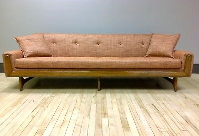 1960s Pearsall style Sofa Reupholstered w/ Knoll Fabric - Mid-century Modern MCM