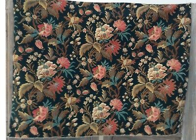 Lovely Antique French floral fabric cotton cretonne shabby chic upholstery