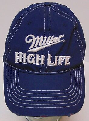 938aa0721a478 UNISEX BLUE   PINK MILLER HIGH LIFE BEER Advertising DISTRESSED ADJUSTABLE  HAT