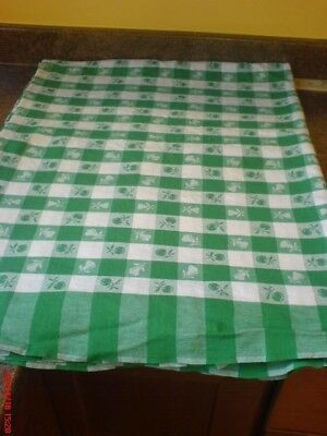 """Simtex green apples and cherries tablecloth, 50X80"""" good condition USA reduced"""