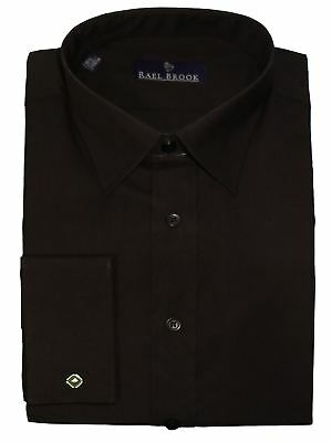 Rael Brook Mens Formal Plain Double Cuff Dress Shirt in Black