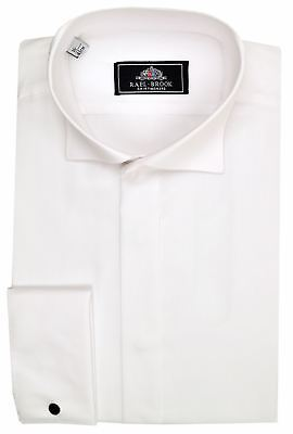 Rael Brook Mens Formal Swept Wing Collar Double Cuff Dress Shirt in White