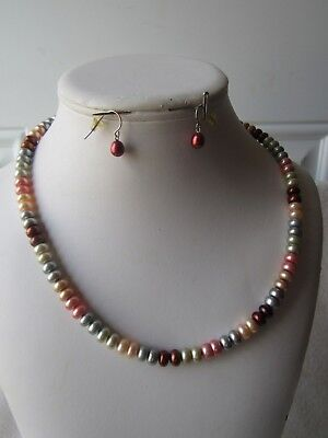 Honora Necklace & Earring Set | Multi-Color  Pearl | 925 Sterling Clasp 19.5 in