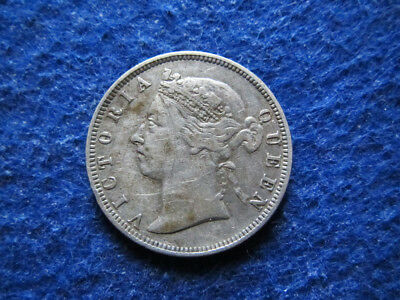 1891 British Straits Settlements Silver 20 Cents - Free U S Shipping