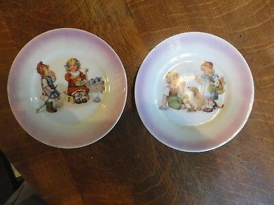 "CUTE!!! Old  Pair Of Child's 5"" Plates - Signed GERMANY - Great Child Graphics"