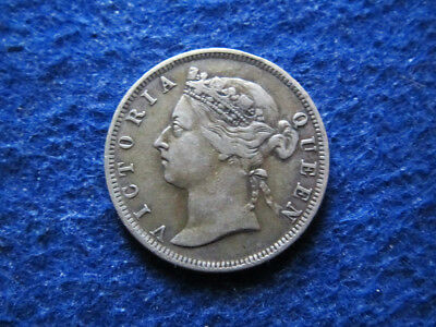 1900 British Straits Settlements Silver 20 Cents - Free U S Shipping