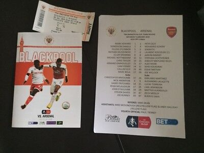 Blackpool V Arsenal Fa Cup 2018-19 With Teamsheet & Match Ticket
