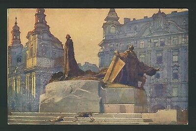 Old Vintage monument de Jean hus Prague Praha czech Postcard