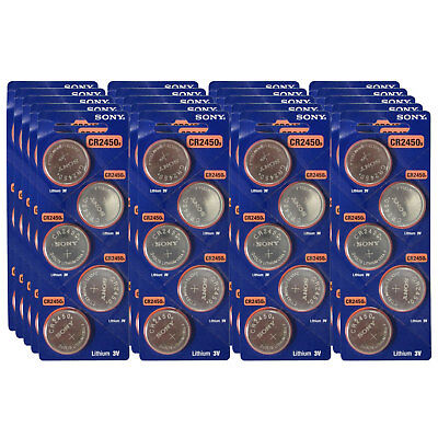 100pk Sony Coin Cell Battery CR2450 3V Lithium Replaces DL2450, BR2450 FAST SHIP