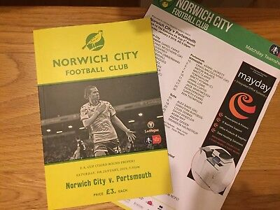 Norwich City V Portsmouth 2018-19 FA Cup 3rd Round Programme & Teamsheet