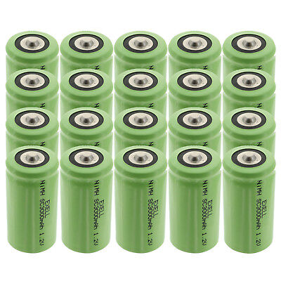 20x Exell 1.2V 3000mAh NiMH SubC Size Rechargeable Button Top Batteries USA SHIP