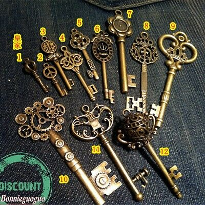 Royal Skeleton Key Lot of 12 ,Antique, Old look, Vintage Key,Large NEW