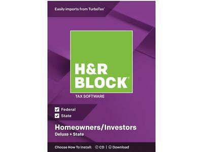 H&R Block Deluxe + State 2018 Homeowners/Investors Tax Software Disc Windows/Mac