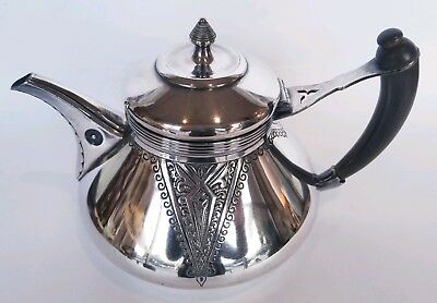 Aesthetic Movement Elkington 1865-1897 Silver Plate Teapot Wood Handle Lovely!