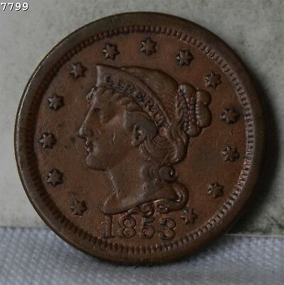 "1853 Braided Hair Large Cent ""XF"" *Free S/H After 1st Item*"
