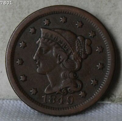 "1849 Braided Hair Large Cent ""VF/XF"" *Free S/H After 1st Item*"