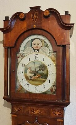 "Superb Georgian Mahogany & Inlaid ""4 Hand"" Moonroller Longcase Grandfather Clock"