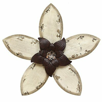 Stratton Home Wood & Metal Hand Painted Antique Flower Wall Decor, Espresso