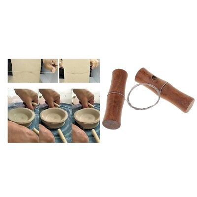 Wire Clay Cutter Pottery Tools Wooden Handles Stainless Steel 59cm Wire