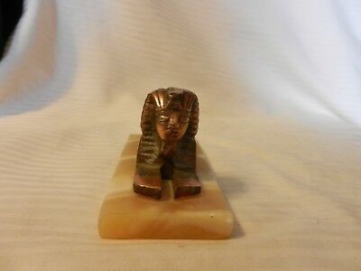 Egyptian Sphinx  Cast Copper Colored Metal Figurine, Stone Base