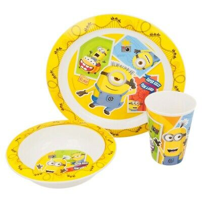 Set Micro Kids 3 Pcs. (Plato, Cuenco Y Vaso 260 Ml.) Minions Fun Land
