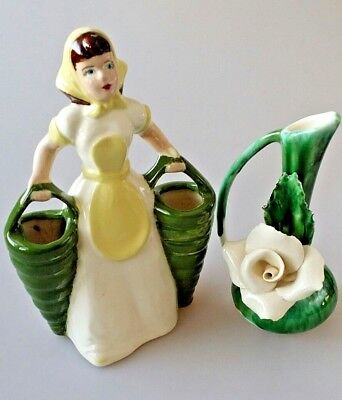 Vintage WEIL WARE California Pottery Woman Double Vase & Rose Vase