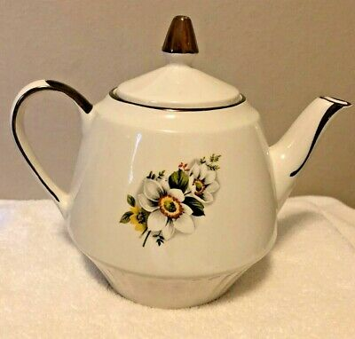 Vintage Gibsons Staffordshire England Gold Trim Teapot With Floral Motif N8894
