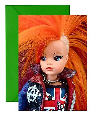 Punk Rock Pedigree Vintage Sindy Ooak Doll  Toy Greetings (Birthday) Card