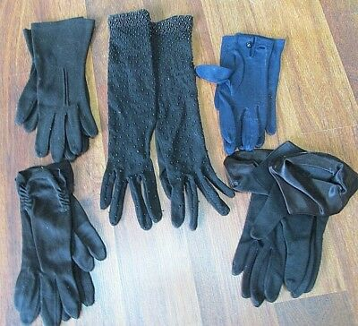 Vintage Ladies Glove Collection Of 5 Pair/ 4 Black And One Navy