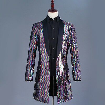 Mens Shiny Sequin Longline Jacket Suit Blazer Outfit Stage Costume Tops  Coats cd98f690f8c8