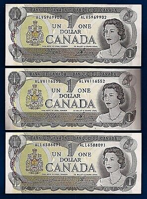 THREE 1973 CANADA consecutive 1 ONE DOLLAR BILLS NOTES prefix ALL ALV CRISP UNC