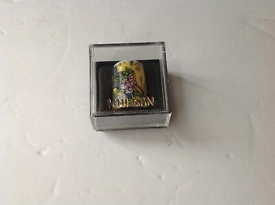 Vintage ICHI BAN Painted Thimble w/ Original Case collectible