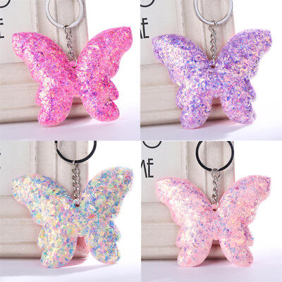 Jewelry Car Butterfly Keyring Bag Accessories Sequins Keychain Handbag Pendant