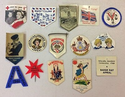 15 Vintage Celluloid & Card Appeal Day Pin Badges WW1 WW2 ACF Anzac Day Lot 7