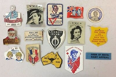 15 Vintage Celluloid & Card Appeal Day Pin Badges WW2 Cheer Up YMCA Orphan Lot 9