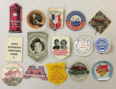 15 Vintage Celluloid & Card Appeal Day Pin Badges WW2 Minda ACF Cheer Up Lot 13