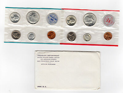 1964 U.S. Mint Uncirculated Coins Sets Both P & D Mints 1st Kennedy 90% Silver 1