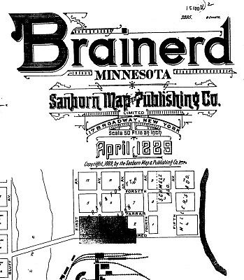 Brainerd, Minnesota~ Sanborn Map© sheets made in 1885,1889, 1892 ~with 29 maps