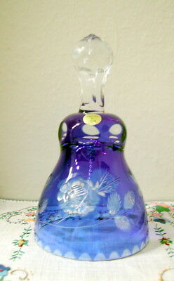 Dark Blue Cut to Clear Crystal Bell, Made in Poland