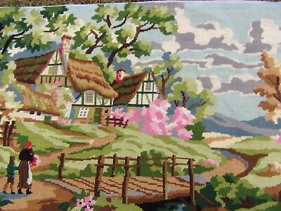 """Country Scene Vintage French Completed Needlepoint Tapestry 18 x 41"""" 50 x 102 cm"""
