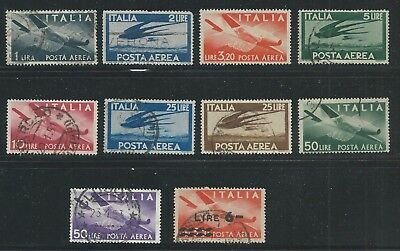Italy 1945-47 Airmail set of 10 stamps used