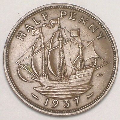 1937 UK Great Britain British Half 1/2 Penny Warship Coin VF+